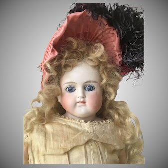 """Gorgeous Pink Vintage Hat with Feather Plumes for Antique 15"""" - 20"""" Size Doll"""