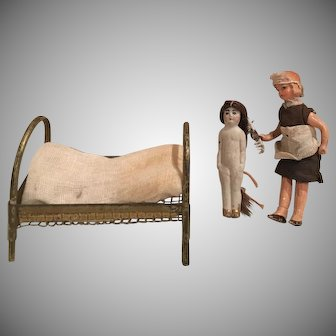 Antique Doll's Box with Nanny and Child ca. 1890