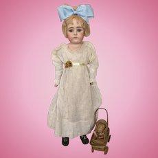 "Sad 20"" Square Face Closed Mouth Kestner Doll"