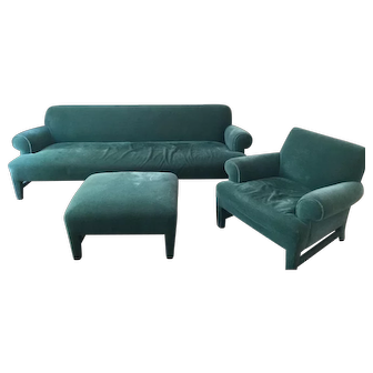 Designer couch, chair and ottoman.