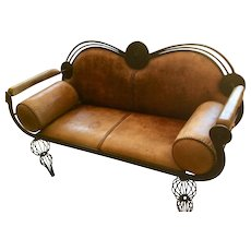 Moroccan leather settee.