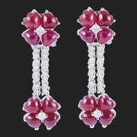 Gold 4.50 Carat Diamond Ruby Drop Dangle Earrings