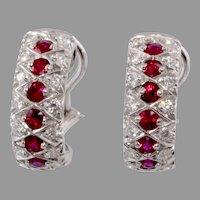 18k White Gold 2.25 Carat Diamond Ruby Hoop Earrings Estate Jewelry
