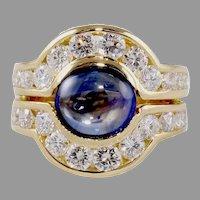 18k 4.80 Carat Cabochon Sapphire Diamond Ring