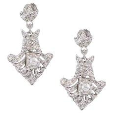 14k Gold Natural Diamond Drop Dangle Earrings
