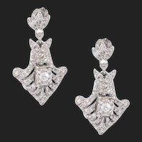Vintage 14k White Gold Pave Natural Diamond Drop Dangle Earrings