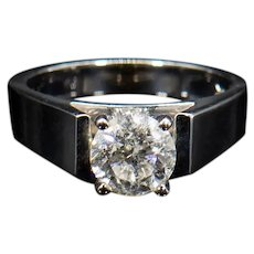 Brilliant Diamond Solitaire Engagement Ring 1.40 Carats White Gold