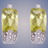 Diamond Lemon Quartz 14k White Gold Earrings