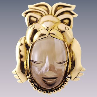 Carved Topaz Rock Crystal Face, 18k Gold Pin Brooch