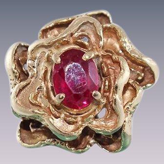 Ruby 14k Gold Flower Ring