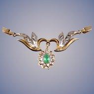 Emerald & Diamonds 14k Gold Necklace