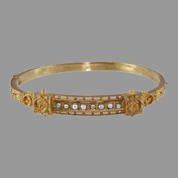 Victorian 18k Gold And Pearl Etruscan Revival Bangle Bracelet
