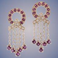 Pink Sapphire Diamond 14k Gold Earrings