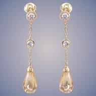 Citrine & Diamond 14k Gold Drop Dangle Earrings