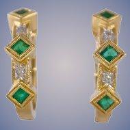 Emerald & Diamond 14k Gold Hoop Earrings