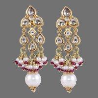 Pearls, Rubies & Diamonds 22k Gold Earrings