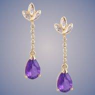 Amethyst Diamond Dangle 14k Gold Earrings