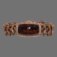 Stephen Dweck Smokey Quartz, Diamonds, Bronze Finished Sterling Silver Link Bracelet. Signed.