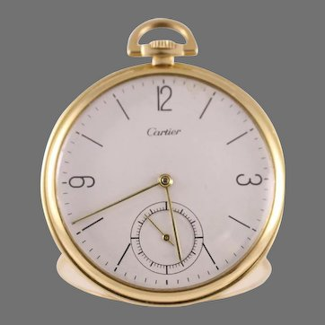 18k Solid Gold, IWC Cartier 46mm Pocket Watch. Circa 1950's.