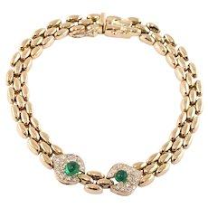 Emerald & Diamond Panthere Style Link 18k Gold Bracelet