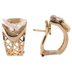 Diamond 18k Gold Mid Century Clip Earrings