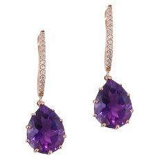Amethyst, Diamonds 14k Rose Gold Dangle Earrings
