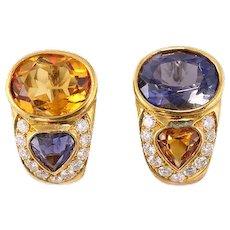 Amethyst, Citrine, Diamond 18k Gold Earrings