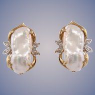 Freshwater Pearl & Diamond 14k Gold Ruser Earrings