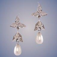 Baroque Pearl, Diamond 14k Gold Dangle Earrings