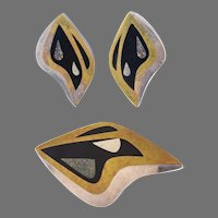 Sterling Silver, Brass Inlay Pin and Earrings Set