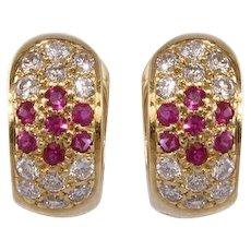 Ruby, Diamond 14k Gold Earrings