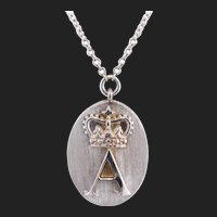 Designer 18K White Gold Diamond Initial Monogram Pendant Necklace