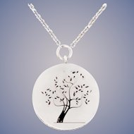 Tree Pendant 18k White Gold Necklace