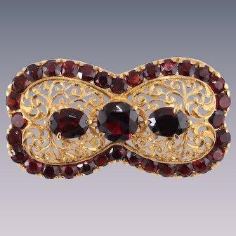 18k Victorian Edwardian Spessartite Garnet Pin Brooch