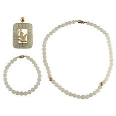 14k Gold Jade Pendant, Necklace & Bracelet Set