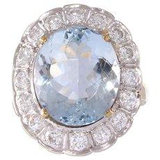 Aquamarine and Diamond 14k Gold Ring