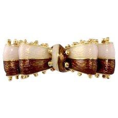Tiffany & Co. 18k Pin Brooch Yellow Gold Enamel Bow Italy Signed