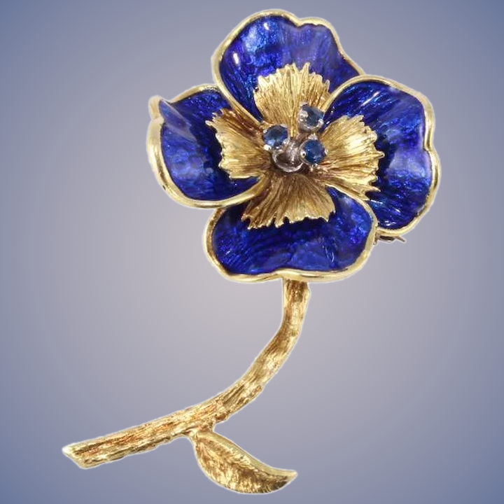 e1814030e08 Tiffany & Co. Sapphire, 18k Gold Flower Pin Brooch : Olympic Gold And  Jewelry | Ruby Lane