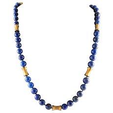 Lapis Lazuli Beads & 14k Rose Gold Necklace