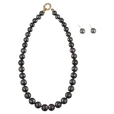 Black Tahitian Pearl Necklace and Earrings  With 14K Gold Clasp