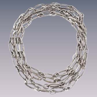 Hammered Sterling Silver Chain Link Necklace