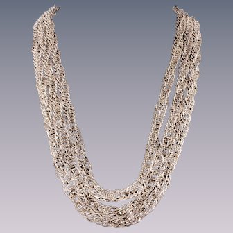 Sterling Silver Woven Double Necklace