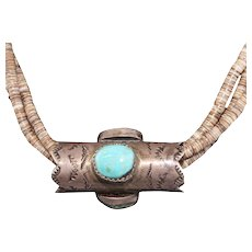 Turquoise, Shell Native American Heishi Silver Necklace