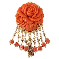 Victorian 14k Gold Carved Coral Pin Brooch