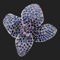 Designer 18K Gold Earth Mined Natural Blue Sapphire & Purple Sapphire 18k Pin Brooch