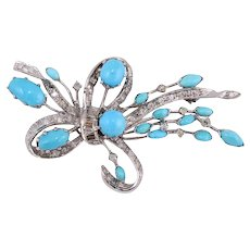 Turquoise, Diamonds 14k Gold Bow Brooch