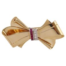 20th Century Ruby Diamond 14k Gold Bow Pin Brooch