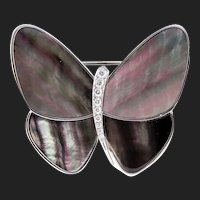 Van Cleef Arpels Diamond MOP Butterfly Pin Clip 18K Signed VCA 19254