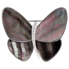 Van Cleef Arpels 18k WG Diamond MOP Butterfly Pin Clip Signed VCA 19254
