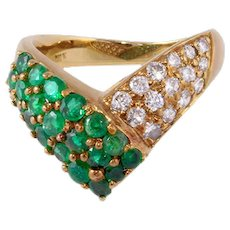 Emerald Diamond Ring 18k Gold